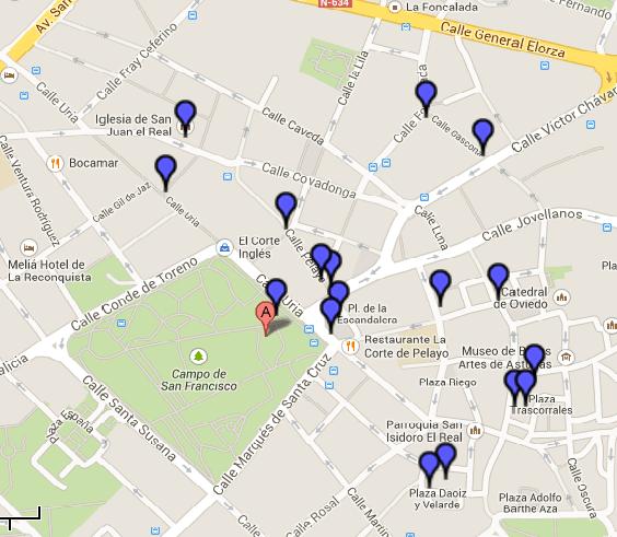 Estatuas Oviedo mapa